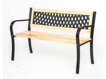 Elegante panchina da esterno, in ghisa e legno, 120x53