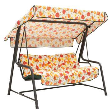 Dondolo con schienale e seduta imbottiti. Ottimo per l'esterno, resistente alle intemperie. Tessuto seduta in fantasia.