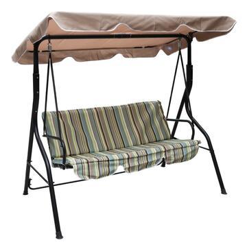 Dondolo Strippy con struttura in metallo, cuscini e baldacchino a righe, da tre posti.
