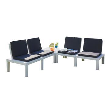 Divanetto da esterno componibile con 4 sedute e tavolino, in plastica bianca con cuscinature imbottite blu