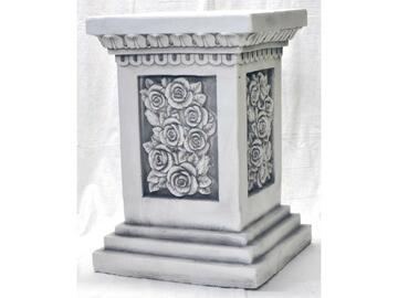 Statua colonna con rose in poliresina.