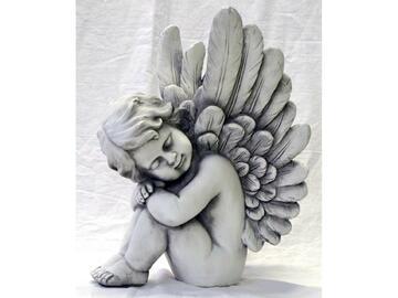 Statua angelo che dorme in poliresina.