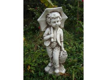 Statua da giardino bimbo con ombrellone