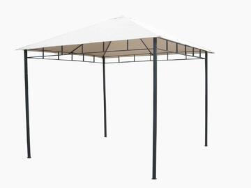 Elegante gazebo con struttura in metallo decorata con cornice floreale. Ideale per l'esterno. Disponibile in varie misure.