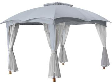 Elegante gazebo 3 m x 3,65 m.  Ottima struttura in metallo decorato con tendaggi.