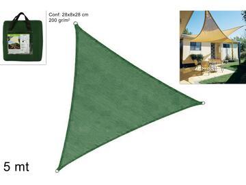 Telo ombreggiante triangolare verde, 5 x 5 x 5