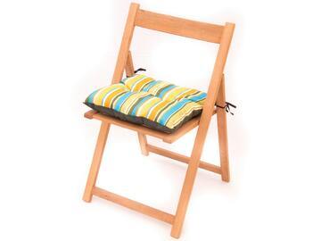 Cuscino imbottito per sedia, morbido e comodo, a righe colorate.