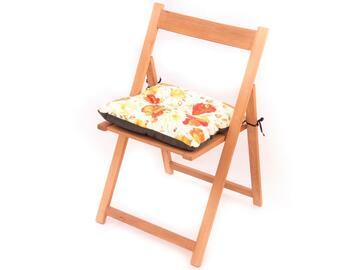 Cuscino imbottito per sedia, morbido e comodo, a fantasia floreale.