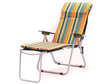 Cuscino per sedia a sdraio e con poggiapiedi, comodo e morbido, a righe colorate.