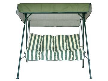 Cuscini imbottiti e baldacchino per dondolo a tre posti, a righe bianche e verdi.