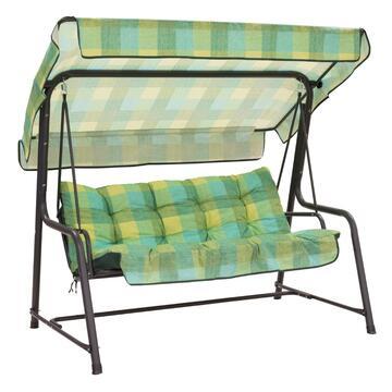 Cuscini imbottiti per dondolo 3 posti Scozzese con tenda abbinata